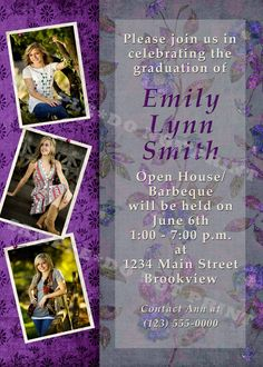 Customized for your Graduate! Graduation Open House Party Invitations