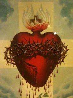 Sacred Heart of Jesus Religious Icons, Religious Art, Sagrado Corazon Tattoo, La Passion Du Christ, Miséricorde Divine, Sacred Heart Tattoos, Brust Tattoo, Jesus Christ Images, Heart Of Jesus