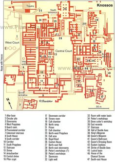 A - Plan of Knossos Palace - Crete Santorini, Knossos Palace, Minoan Art, Mycenaean, Greek History, Art History, Heraklion, Ancient Architecture, Architecture Blueprints