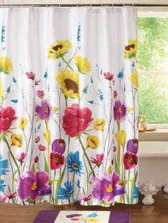 113 best shower curtain images on pinterest in 2018 bathroom sets new purple pink yellow floral fabric shower curtain mightylinksfo
