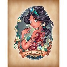 Disney Princesses Illustrated As Sexy Pin-Up Girls With Tattoos ❤ liked on Polyvore featuring disney, tattoos y characters