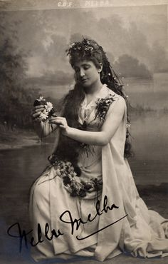 "Nellie Melba. Melbourne, Australian Opera Singer, in whose honor ""Melba Toast"" and ""Peach Melba"" were named by the chef at the London Savoy Hotel."