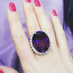 Imperial Russian Amethyst and Diamond Cluster Ring, amethyst weighing 40.40 carats