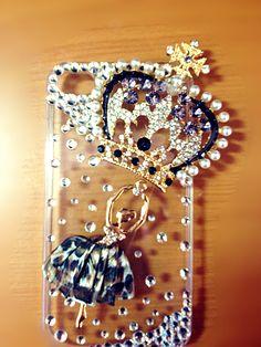 Iphone 4 & 4s cases little Queen Ballerina girls with Fashionable Leopard Grain