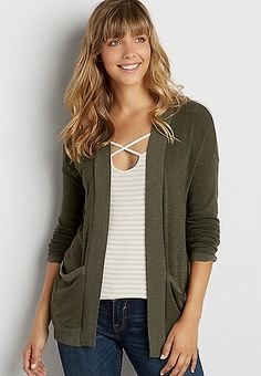 soft knit cardigan with contrast hems | maurices