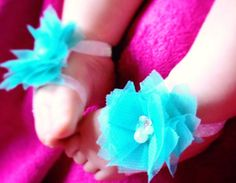 Tiffany Blue Barefoot Baby Sandals  by BrittsBeautyBoutique, $8.75