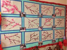 Chinese New Year Blossom pictures by class 2 made with tissue paper Chinese New Year Crafts For Kids, Chinese Arts And Crafts, Chinese New Year Activities, New Years Activities, China For Kids, Chinese Blossom, Kindergarten Projects, Hand Making, New Year's Crafts