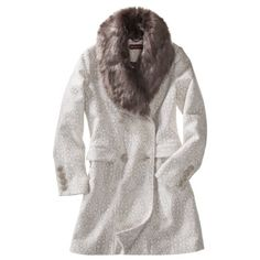 Merona® Women's Double Breasted Coat w/Fur Collar -Ivory