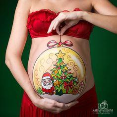 Aprovecha la navidad y tu embarazo para hacer este hermoso Belly Painting