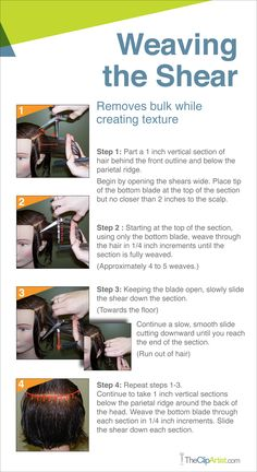 Weaving-the-Shear-Tutorial. Great cutting tip to remove bulk but add texture to the hair!