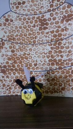 Lesson 25 craft of bumblebee to go with the wild honey craft. I painted 2 egg… Wild Honey, Egg Cartons, Googly Eyes, John The Baptist, Preschool Crafts, Sunday School, Black Stripes, Israel, Tape