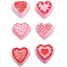 Mini Heart Fantasy Cakes - Pink-iced mini cakes await your creative touches! Simply cover  cakes with a smooth, poured-on layer of icing then pipe on your  favorite Valentine's Day-inspired red decorations.