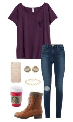 """""""The girl who cries wolf everyday, ignore by gravity"""" by toonceyb ❤ liked on Polyvore featuring H&M, Frame Denim, Charlotte Russe, Dolce Giavonna, Kendra Scott and Sonix"""
