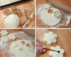 posolone pomysły: KURS - dekoracje wielkanocne - owieczki cz 1 Polymer Clay Crafts, Clay Creations, Icing, Diy And Crafts, Desserts, Salt, Cold Porcelain, Pintura, Fimo