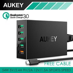 AUKEY Quick Charge 3.0 5-Ports Desktop Charging Station Smart USB Charger with 1m free cable for  Xiaomi HTC Universal Charger