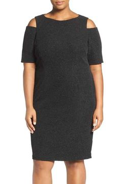 Eliza J Cold Shoulder Sparkle Knit Sheath Dress (Plus Size)