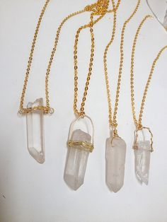 customize a clear quartz or titanium quartz necklace at classic rock couture - quartz point jewelry, boho jewelry, healing, quartz crystal necklace, pyrite necklace