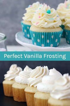 This Perfect Vanilla Frosting Recipe recipe is very versatile. It's a basic vanilla buttercream using butter and powdered sugar. The big difference in this recipe is that is starts with cold butter and it whipped which makes this the perfect frosting for piping cupcakes and cake decorating. #vanillabuttercream #frosting #vanillafrosting #vanillafrostingrecipe #frostingrecipe #buttercreamfrosting #icing #icingrecipe #easyvanillafrosting