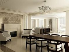 Monochrome interior in the style of Art Deco