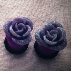 00g 10mm Lilac Purple Glitter Rose Plugs for stretched ears Gauged Studs pastel Flower  Decora body piercings Gyaru