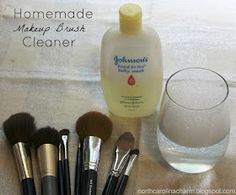 Homemade Makeup Brush Cleaner: 1 cup warm water and 1 tablespoon Baby Shampoo