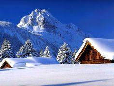 Fond d'ecran paysage hiver neige montagne cabane