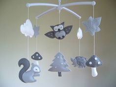 NEW  - Woodland Baby Mobile, Musical Baby Mobile with Cot Arm, Owl Baby Mobile, Forest Animal Baby Mobile, Grey Nursery Decor, Cot Mobile.