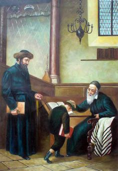 Handmade Jewish Israel Judaica Hebrew Art Oil Painting Blessings from Rabbi