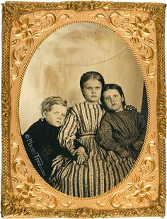 c. 1861 Quarter Plate Tintype. Possibly children of a Civil War soldier, picture taken to send to him.