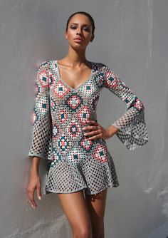 crocheted grey mini dress