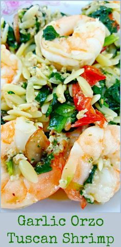 Garlic Orzo Tuscan Shrimp for Two - is coated in a light and creamy Parmesan cheese sauce filled with garlic, sun dried tomatoes, baby bella mushrooms, onion and spinach! This seafood dish has really great flavor and the majority of it (other than cooking Orzo Recipes, Fish Recipes, Seafood Recipes, Dinner Recipes, Cooking Recipes, Healthy Recipes, Budget Cooking, Delicious Recipes, Bread Recipes