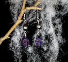 Spooky Gothic Purple Skull Handmade Earrings by GemsTeaParty