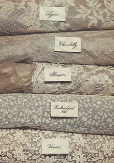Great photos, detailed descriptions about laces currently used in bridal fashion…