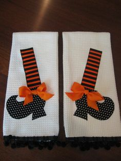 Halloween Appliqued Witch Shoe Dish Towel Set by UncommonFabrics, $29.95