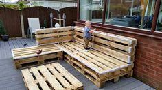 rustic whole pallet L-sofa frame