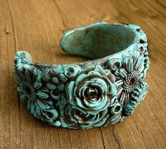 Distressed polymer clay flower cuff by adrianaallenllc on Etsy   Distressed polymer clay and inks!