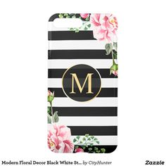 Modern Floral Decor Black White Stripes Monogram iPhone 7 Plus Case - black and white, girly, floral, monogram, black white stripes, gold, feminine, elegant, flower, beautiful, cute, stripes, cute floral, vintage floral, romantic, stylish, pink flowers