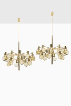 Hans-Agne Jakobsson ceiling lamps in brass and glass at Studio Schalling