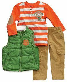Nannette Kids Set, Little Boys 3-Piece Henley, Vest and Cargos Set