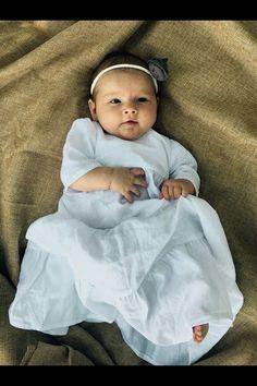 Baby girl Baptism dress Brigh white Linen Long dress by Marumakids