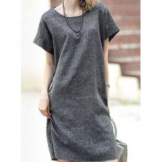 $11.57 Simple Scoop Neck Gray Short Sleeve Dress For Women