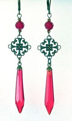 Antique red chandelier earrings.