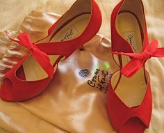 I have these in black velvet and red shirring--SO comfortable and beautiful!   Comme Il Faut tango shoes by tangocatmum, via Flickr
