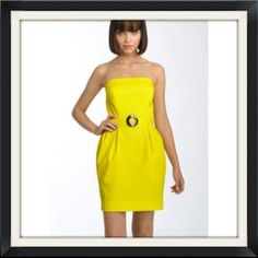 Strapless yellow dress Purchased off Posh but unfortunately it doesn't fit me!  my loss is ur gain. Photos courtesy of polyvore. This has tags still attached. Only tried on by me. French Connection Dresses