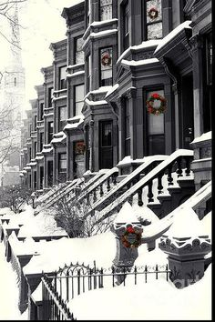 row houses in winter