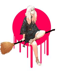 Witch by regourso, witch on a broom, woman japanese, pink, digital painting, inspirational art