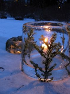 ice lantern, can do this along the path that leads to the house.