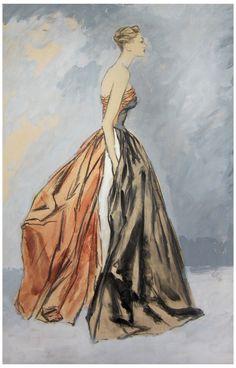 Eric (Carl Erickson) (American, 1891-1958), Fashion Illustration, gouache on paper, signed