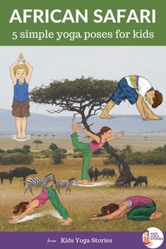 5 simple yoga poses for kids based on African animals. Bring yoga alive for kids with fun animal yoga poses. Kids Yoga Poses, Easy Yoga Poses, Yoga Poses For Beginners, Yoga For Kids, Yoga Meditation, Yoga Positionen, Calming Activities, Gross Motor Activities, Movement Activities