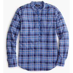 J.Crew Ruffle Popover Shirt ($66) ❤ liked on Polyvore featuring tops, plaid shirts, plaid ruffle shirt, j crew shirts, button up shirts and ruffle button down shirt